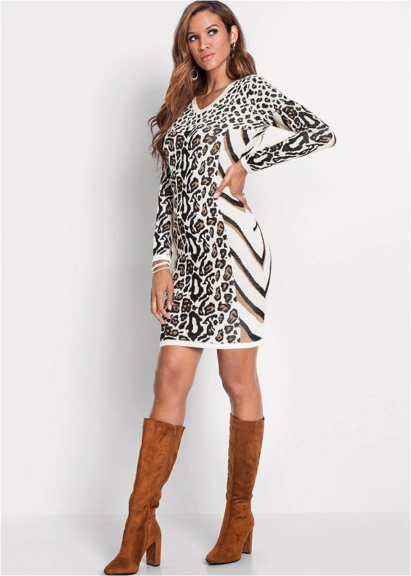 Full front view Animal Print Sweater Dress