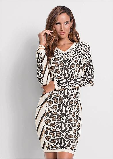 Animal Print Sweater Dress