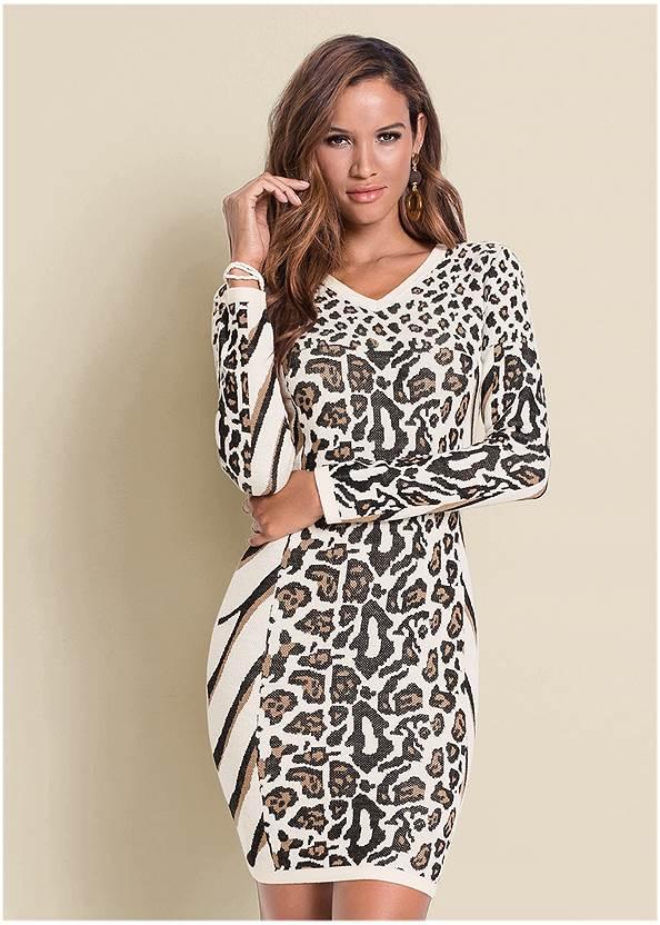 Animal Print Sweater Dress,Pearl™ By Venus Perfect Coverage Bra,Slouchy Block Heel Boots,Mixed Earring Set,Leopard Fringe Crossbody