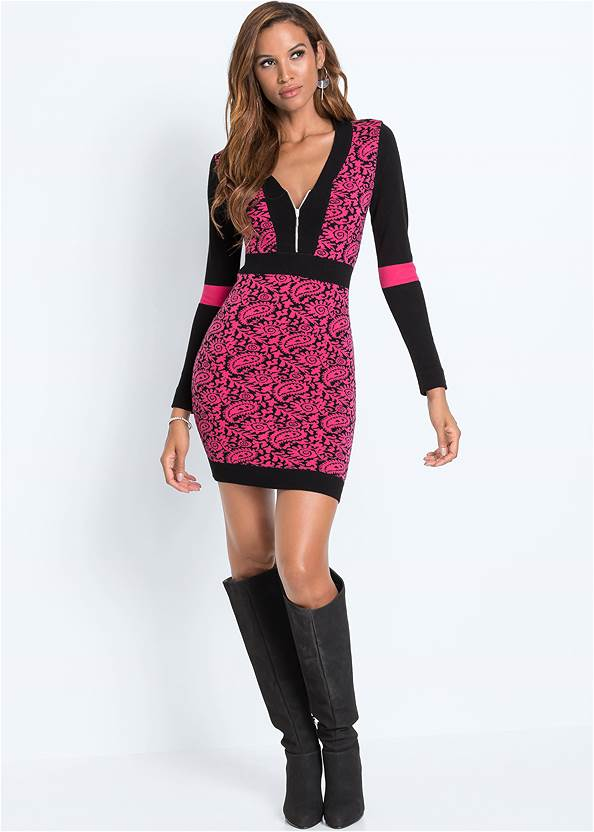 Full front view Zip Detail Sweater Dress