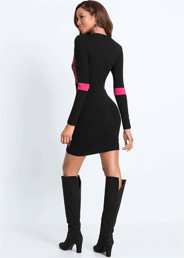 Full back view Zip Detail Sweater Dress