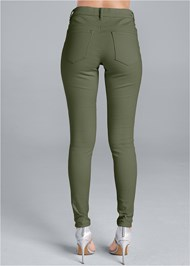 Back View Mid Rise Color Skinny Jeans