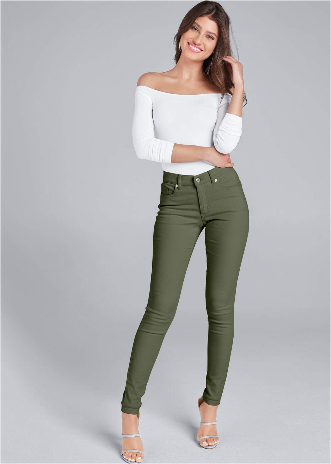 Mid Rise Color Skinny Jeans,Off The Shoulder Top,High Heel Strappy Sandals,Ankle Strap Heels