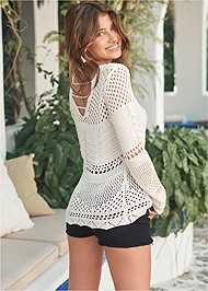 Cropped front view Open Knit Sweater