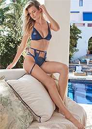 Cropped front view Lace And Satin Bra Set