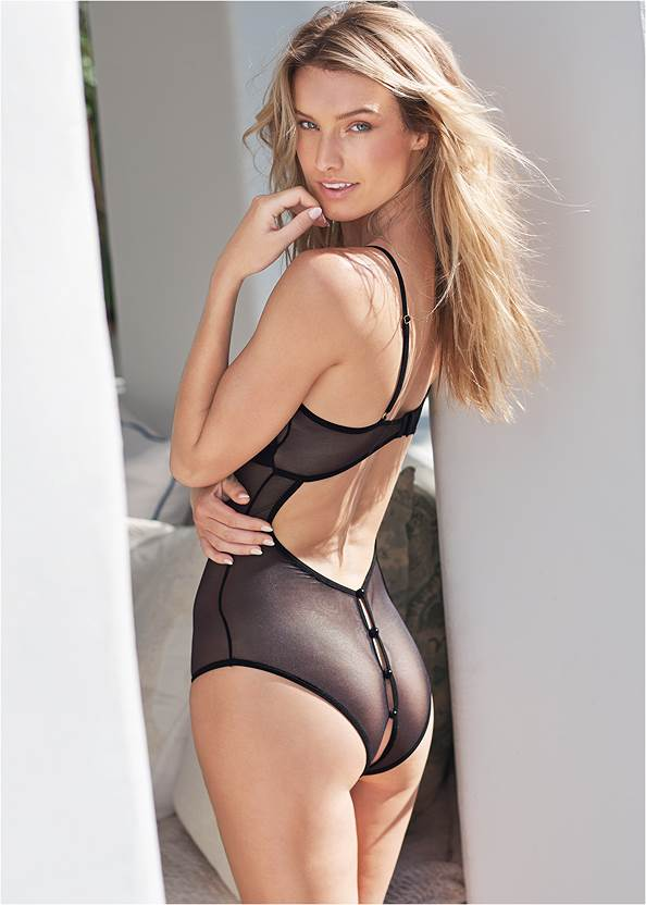 Cropped back view Strappy Mesh Bodysuit