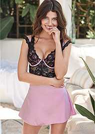 Cropped front view Padded Cup Satin Chemise