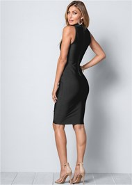 Back View Bandage Mock Neck Dress