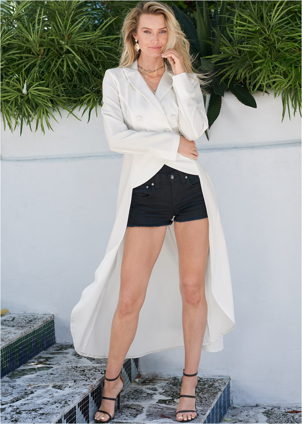High Low Double Breasted Blazer,Frayed Cut Off Jean Shorts,Triangle Hem Jeans,High Heel Strappy Sandals,Beaded Heels,Hoop Detail Earrings,Tassel Hoop Earring,Shell Layered Necklace