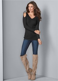 Front View Rib Cold Shoulder Sweater