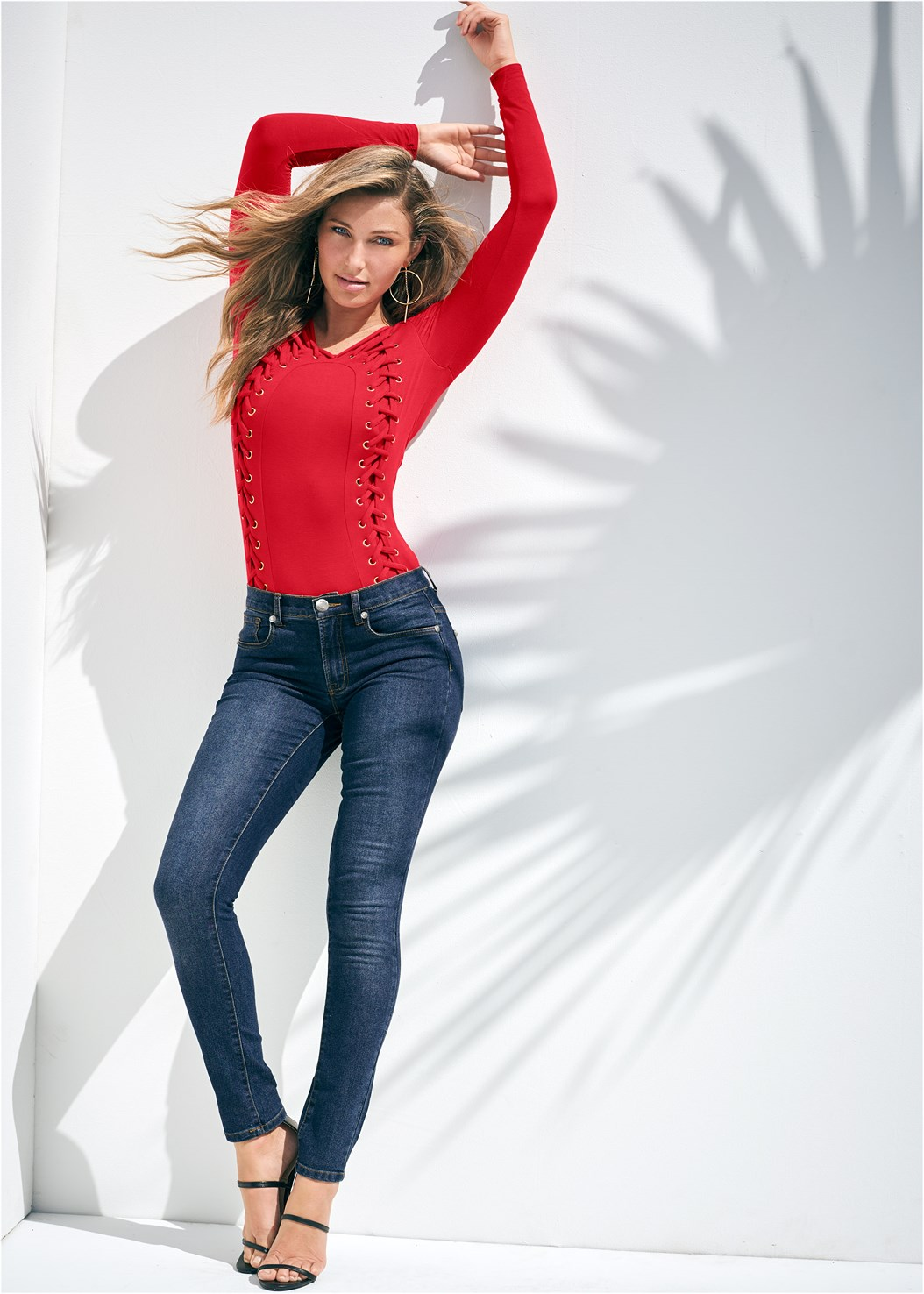 Side Lace Up Top,Mid Rise Color Skinny Jeans,Faux Leather Leggings,High Heel Strappy Sandals,Stud Detail Crossbody
