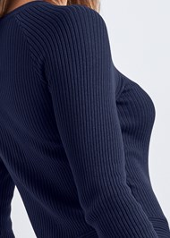 Alternate View Ribbed Tie Detail Sweater