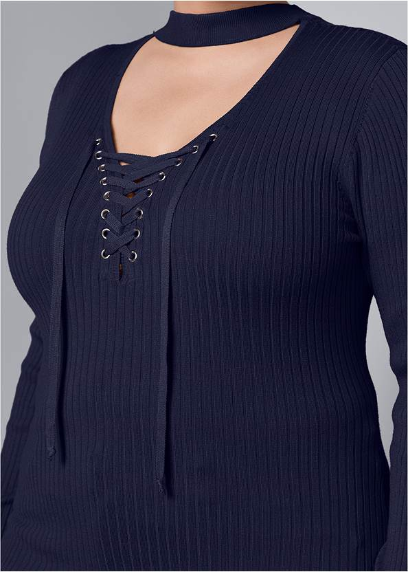Alternate View Mock Neck Lace Up Sweater