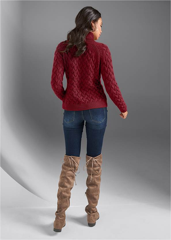 Back View Cable Knit Turtleneck