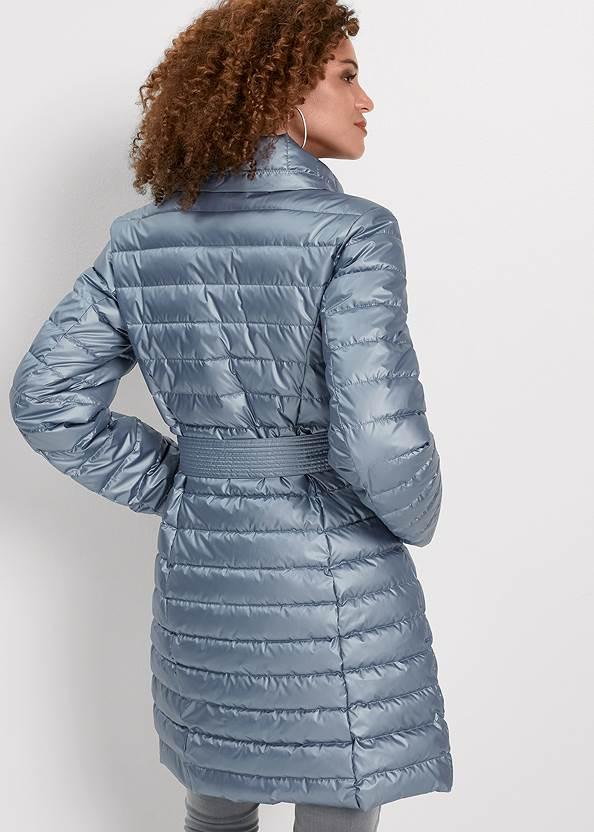 Full back view Metallic Puffer Coat