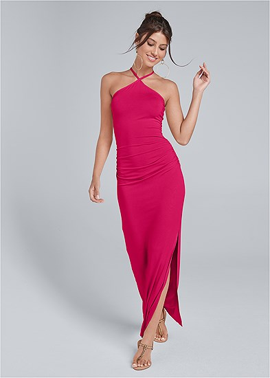 halter neck maxi dress