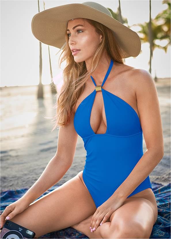 Hot Rio One-Piece,Pineapple Foil Cover-Up