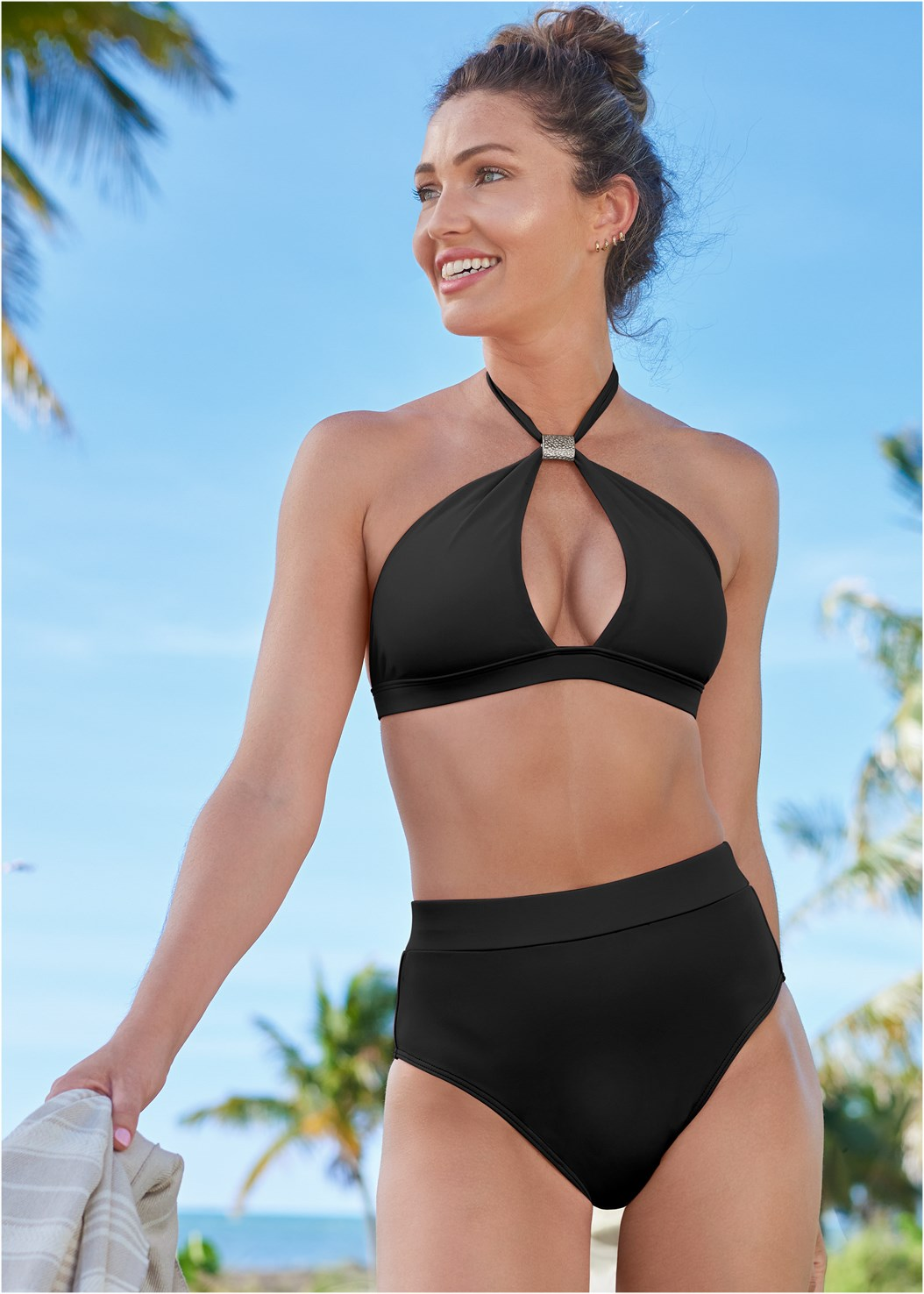 Bondi Beach Top,The Mimi High Rise Bottom,Wrapped Mid Rise Bottom,Swim Short,Front Tie Kimono Cover-Up,Circular Straw Bag