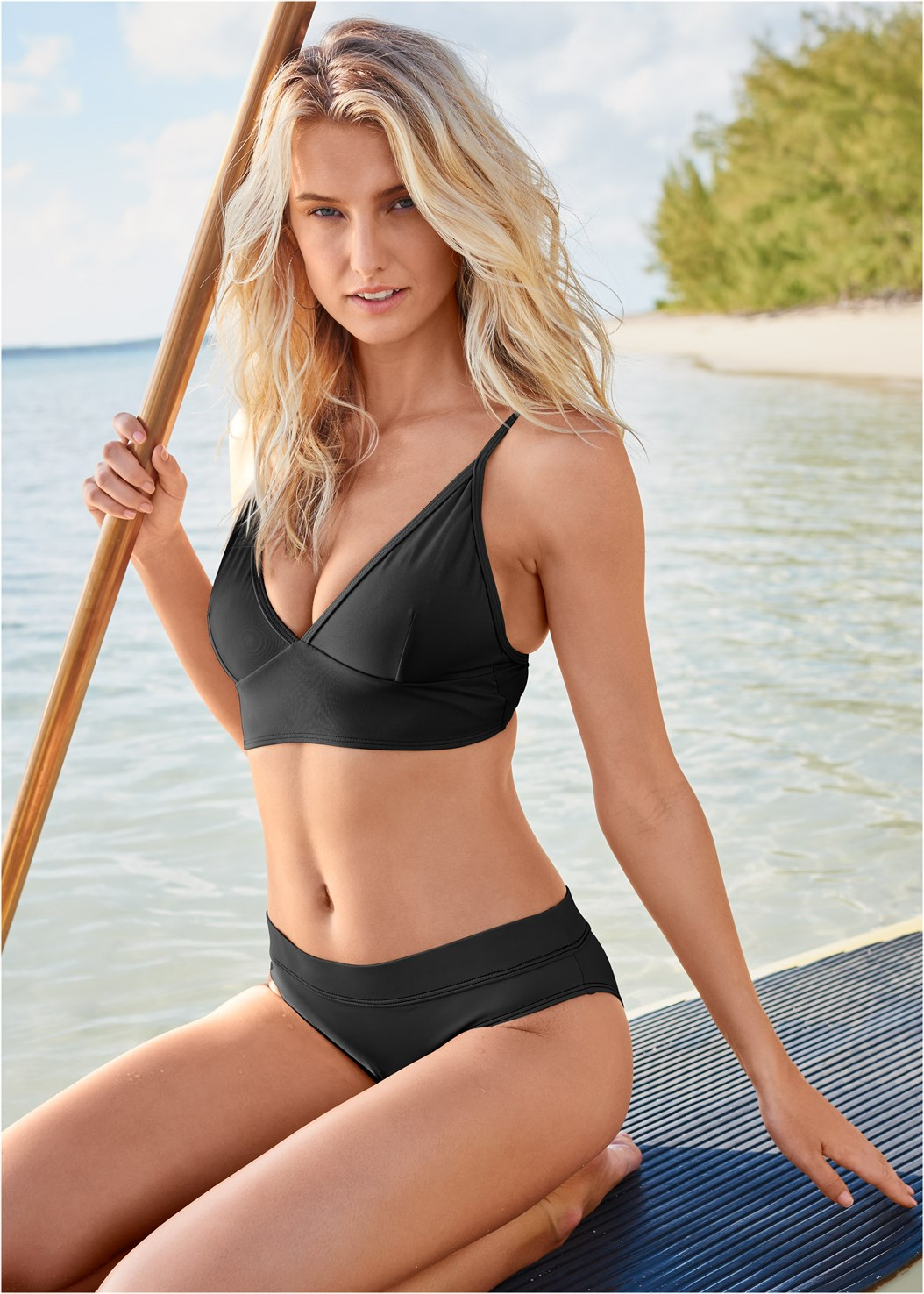 All Day Banded Bottom,By The Sea Triangle Top,All Day Halter Top,Bon Voyage Bandeau Top,Sustainable Crisscross Top,Marilyn Underwire Push Up Halter Top,Jillian Underwire Top,Sheer Robe Cover-Up,Circular Straw Bag
