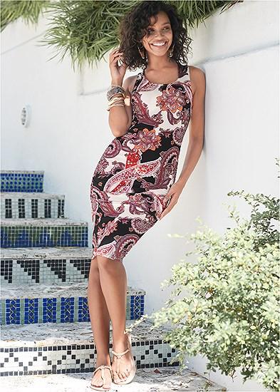 Ruched Print Tank Dress