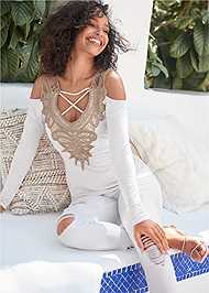 Full Front View Lace Cold Shoulder Top