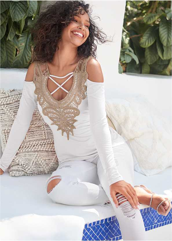 Lace Cold Shoulder Top,Triangle Hem Jeans,Mid Rise Color Skinny Jeans,Beaded Hoop Earrings