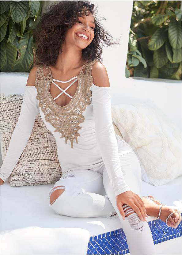 Lace Cold Shoulder Top,Triangle Hem Jeans,Mid Rise Color Skinny Jeans,Strapless Bra With Geo Lace,Rhinestone Ankle Wrap Heels