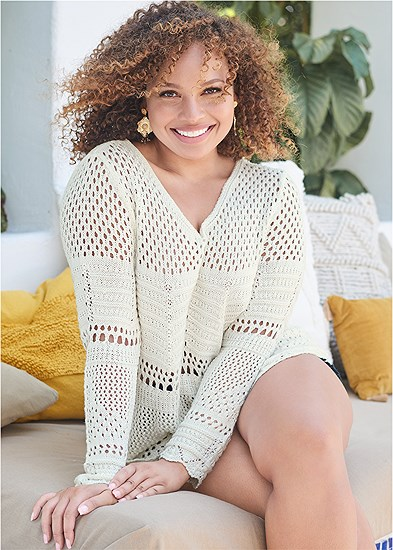 Plus Size Open Knit Sweater
