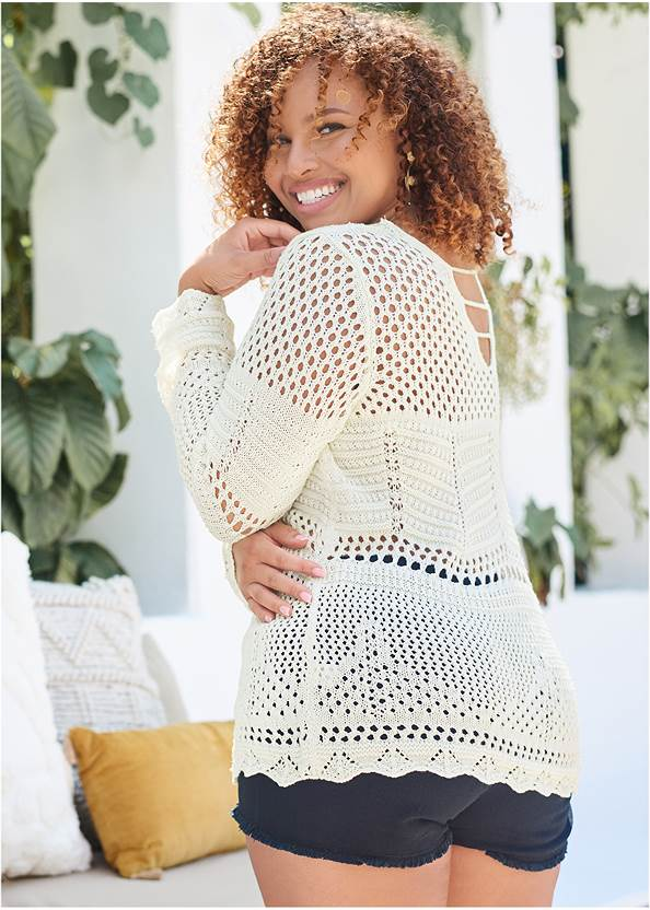 Full Front View Open Knit Sweater