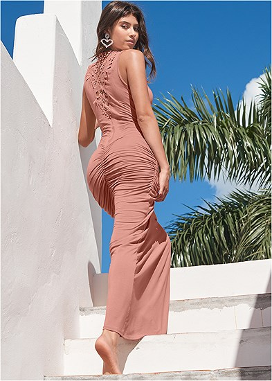 crochet trim ruched maxi dress