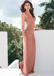 Full Front View Crochet Trim Ruched Maxi Dress