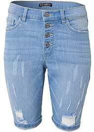 Alternate View Distressed Bermuda Shorts