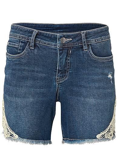 Plus Size Crochet Trim Jean Shorts