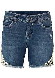 Alternate View Crochet Trim Jean Shorts
