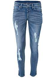 Front View Ripped Cropped Jeans