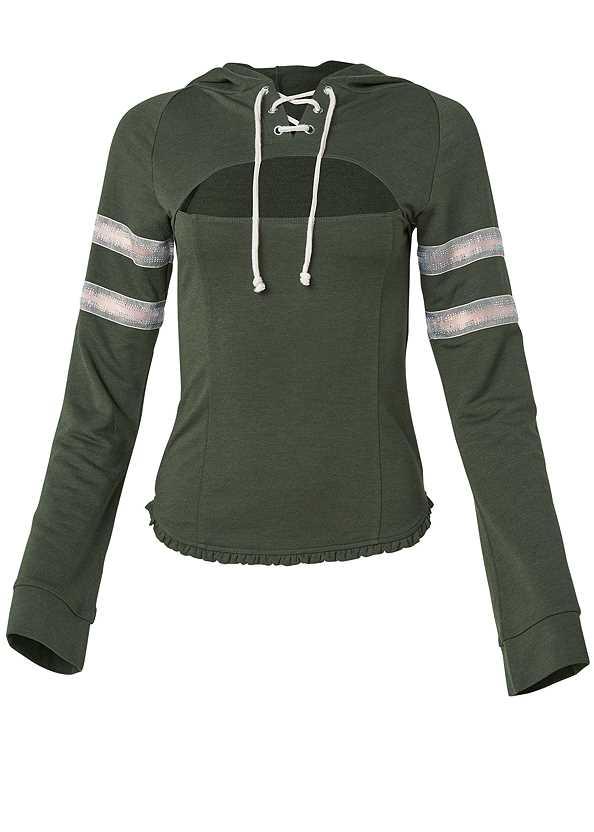 Rhinestone Trim Sweatshirt,Triangle Hem Jeans