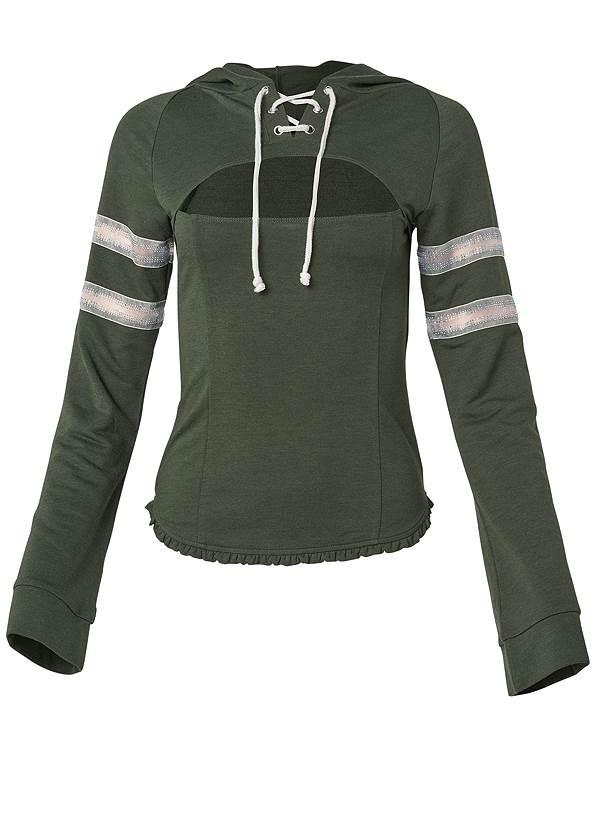 Rhinestone Trim Sweatshirt,Triangle Hem Jeans,Rhinestone Thong Sandals
