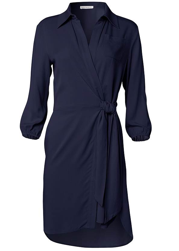Ghost with background  view Faux Wrap Mini Dress