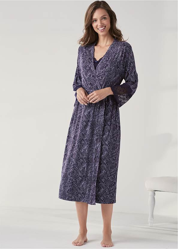 Long Sleep Robe,Lace Detail Nightgown