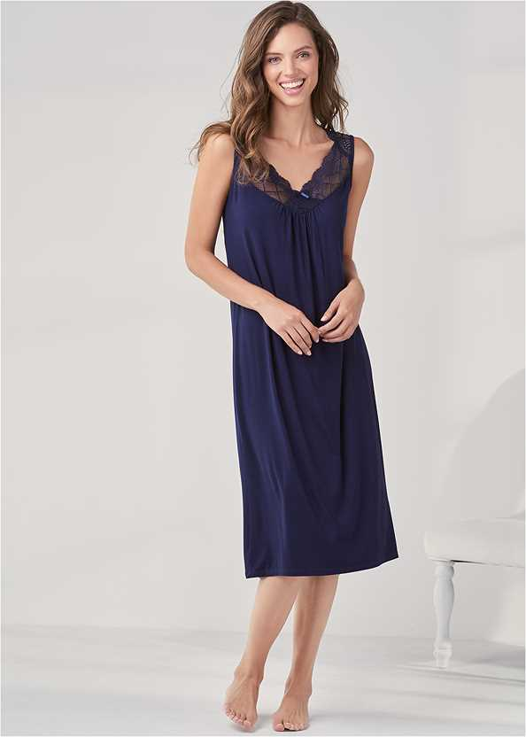 Lace Detail Nightgown,Long Sleep Robe