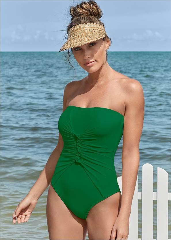 Slimming Bandeau One-Piece,Crochet Cover-Up Dress,Macrame Handbag