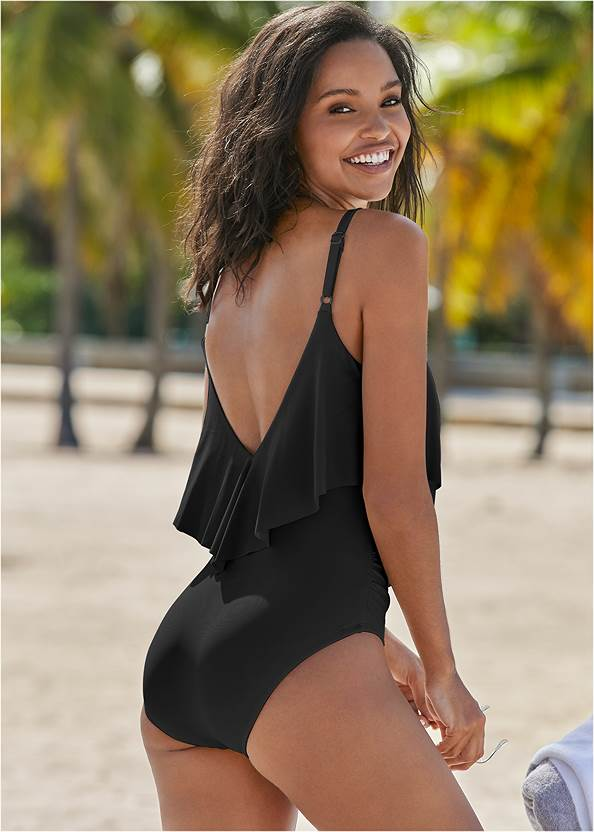 Back View Slimming Ruffle One-Piece