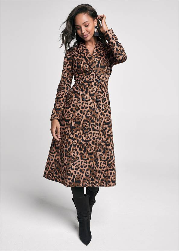 Long Leopard Print Coat,Basic Cami Two Pack,Mid Rise Slimming Stretch Jeggings,Faux Leather Leggings,Buckle Detail Booties,Coin Tassel Earrings,Studded Round Crossbody
