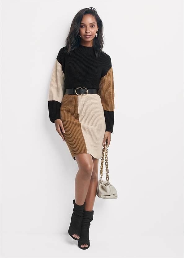 Full front view Color Block Sweater Dress