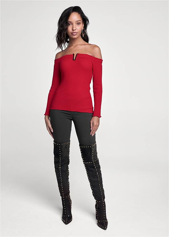Full front view Ribbed Off Shoulder Sweater