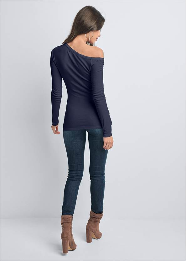 Back View Ribbed Henley Top