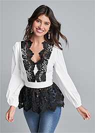 Cropped front view Lace Peplum Blouse