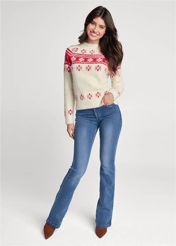 Full front view Snowflake Eyelash Sweater