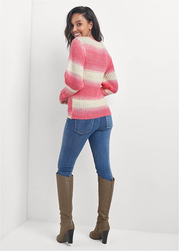 Full back view Ombre Striped Sweater