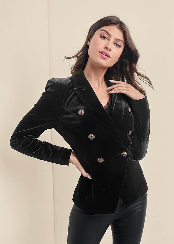 Velvet Blazer,Lace Detail Tank,Faux Leather Leggings,Sexy Ankle Strap Heels,Fringe Wristlet Bag,Tassel Hoop Earrings